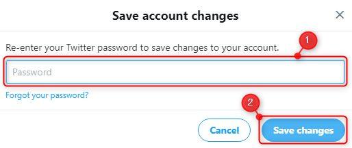Twitterの英語版SaveChangesパスワード入力画面